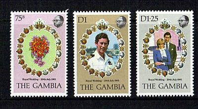 Gambia 1981 Royal Wedding Set Of All Three Commemorative Stamps Mnh