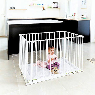 New Babydan White Metal Square Babyden / Park-A-Kid Playpen & Urban Playmat