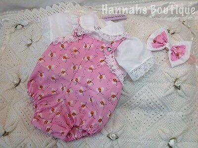 Hannahs Boutique 0-3 Mth Spanish Bee Dungarees And Shirt Set Or Reborn 20-24""