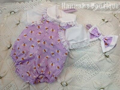 """Hannahs Boutique 0-3 Mth Spanish Bee Dungarees And Shirt Set Or Reborn 20-24"""""""