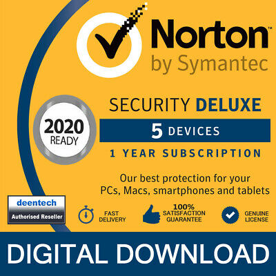 Norton Security Deluxe 2019 (5 Devices/1 Year) Internet Antivirus PC/Mac Licence