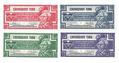 ( 4 ) CANADIAN TIRE MONEY NOTE's ONE DOLLAR $1.00 / .25 / .10 / .05
