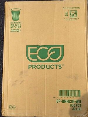 Eco-Products EP-BNHC16-WD 16 oz World Art Insulated Hot Cups 600 per box NEW