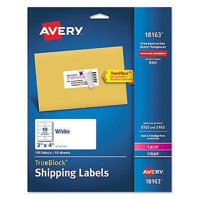 """14 Packs of 100 = 1,400 TOTAL LABELS  Avery Shipping Label 18163 2""""x4"""""""
