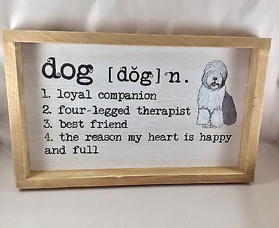 hand painted Old English Sheepdog wood sign definition of dog