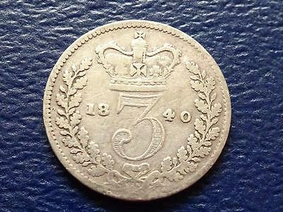 Queen Victoria Silver Threepence 1840 3D Great Britain Uk