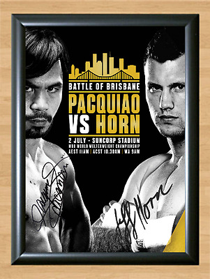 Manny Pacquiao vs Jeff Horn Signed Autographed Print Photo Poster Match Gloves