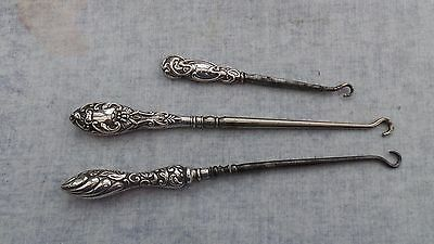 Group of Three Silver Handled  Button Hooks HM 1904 - 1912