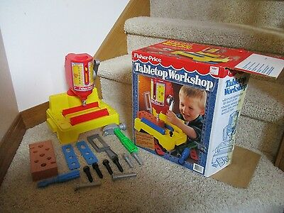 Vintage FISHER PRICE 1992 Tabletop Workshop box lot tools pretend play parts toy