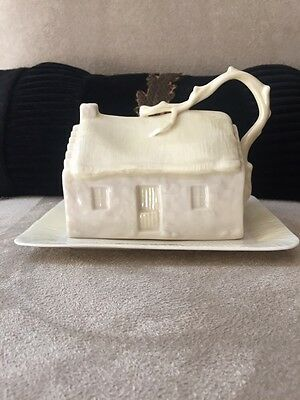 Vintage Belleek Porcelain Cottage House Covered Butter/ Cheese Dish  Green Stamp
