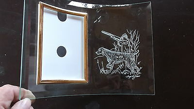 Vizsla- Beautifully  hand engraved Free Standing Glass Photo Frame by Ingrid