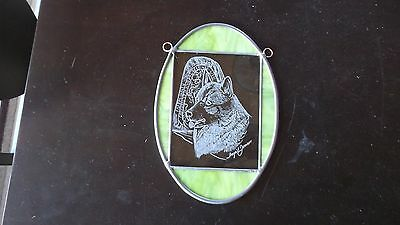 Norwegian Elkhound- New Design, Hand Engraved and stained glass Panel by Ingrid