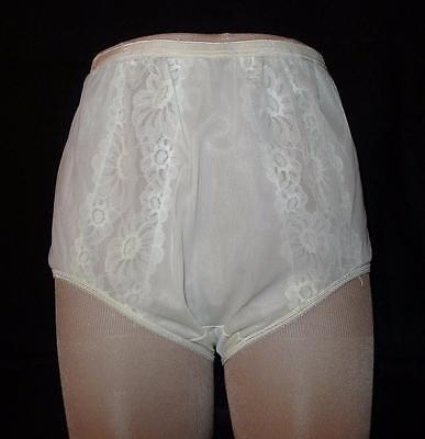 Vintage VANITY FAIR Ivory Sheer Double Layered Panties Size 6 Lace inserts NOS