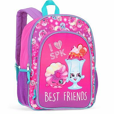"I Love SPK Shopkins 16"" Backpack School Book Bag Tote Full Size NWT"