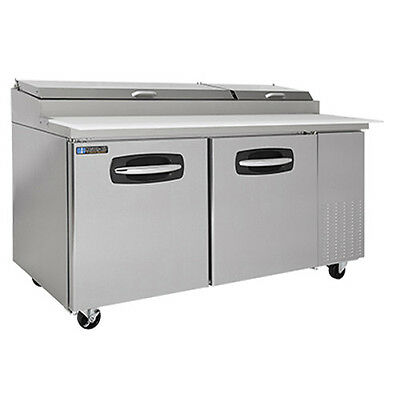 MasterBilt MBPT67 2 Section Fusion Refrigerated Pizza Prep Table W/ Doors