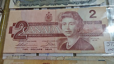 1986 - $2 Canada note -  Canadian two dollar bill - Circulated  -