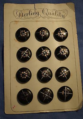 """12 beautiful vintage  painted Vegetable Ivory buttons on orig card, """"Sterling"""""""