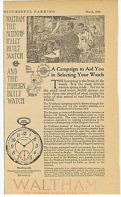 "1919 Ad - WALTHAM POCKET WATCH ""THE RIVERSIDE"""