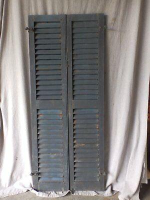 Pair Antique Window Wood Louvered Shutter Shabby Old Chic Vintage 62x13 56-17P