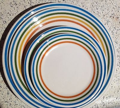 1 Vintage Syracuse Restaurant China Spectrum MULTI Stripe Lunch Plate 6.5 inch