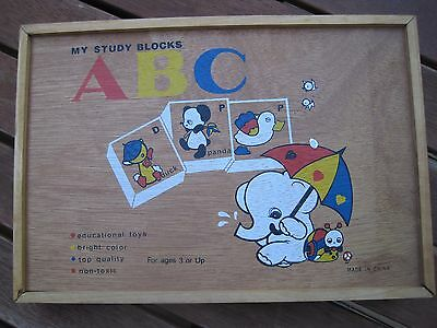 ABC Learning Blocks, Wooden, 48 blocks, Letters, Numbers, Animals, weather, EUC