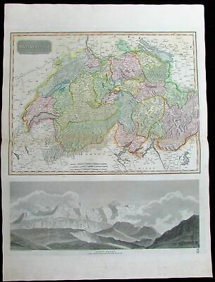 Switzerland Mount Blanc Alps Geneva 1814 Thomson old antique map
