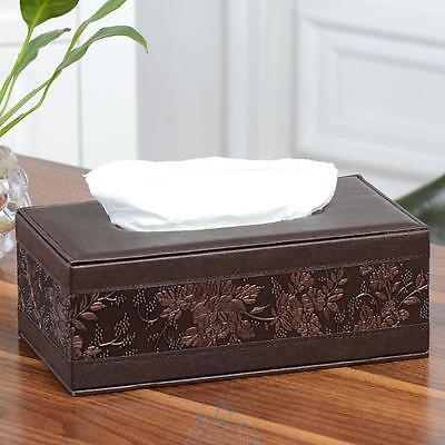 Car Home Rectangle PU Leather Vintage Tissue Box Napkin Paper Holder Organizer