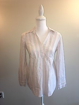 aabb7203303ae Motherhood Maternity White Pink Striped 3/4 Sleeve Tie Back Career Blouse  Top M