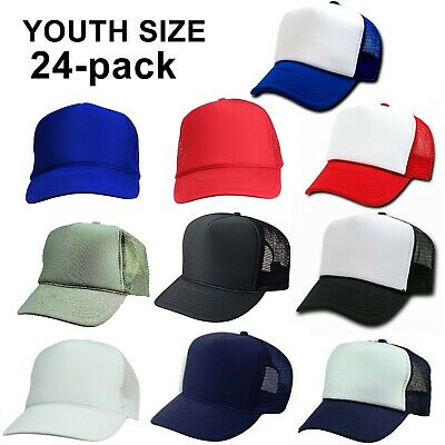 Youth Size ~ 24 Trucker Hats Wholesale Bulk Lot 2 Dozen Mesh Caps ~ Child Kids