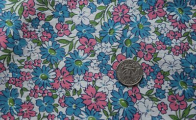 1 yd vintage 1950's cotton fabric,  small scale pink, blue, green, white floral