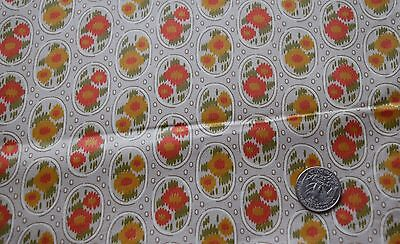 1 yd vintage 1950's cotton fabric, tan with abstract flowers in oval shapes