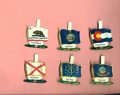 6 Nabisco Tin State Flags 1959 Cereal Premiums Al,california,co,id,in+Kansas