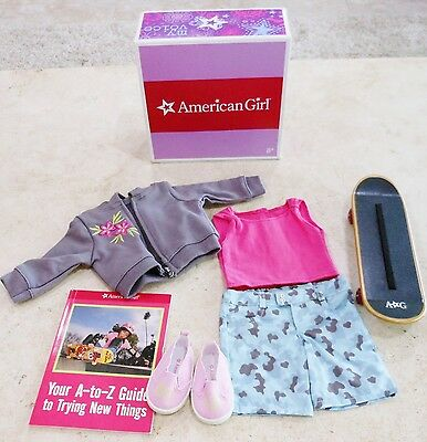 American Girl Doll Clothes Skateboard Set Outfit JLY Shoes Hoody Shorts Book BOX