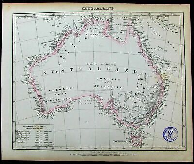 Australia New Holland Van Dieman's Land fine 1852 Flemming old antique color map