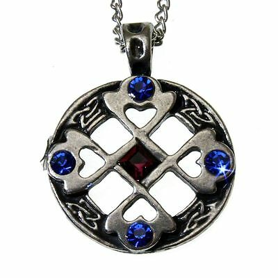 Nordic Lights Celtic Cross Heart Pendant Necklace Pewter Crystal Happy Friends
