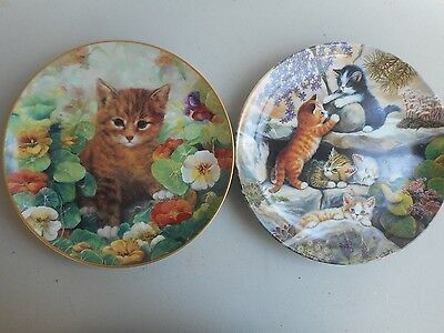 """SET OF TWO CAT COLLECTOR PLATES--""""In the Rock Garden"""" and """"Shy Fritz"""""""