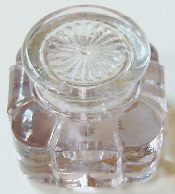 Vintage Very Lightly Pink Glass Ink Well With Clear Glass Top.