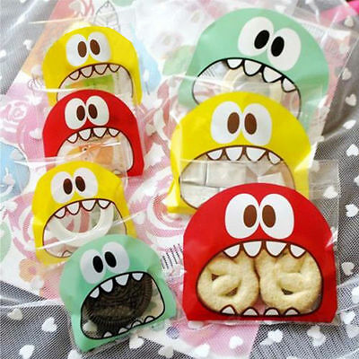 100Pcs Self-Adhesive OPP Packing Bag Seal Plastic Candy Biscuit Cookie Bags Gift