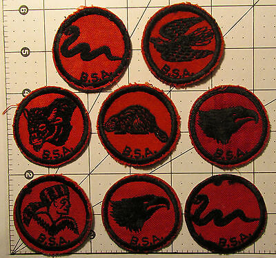 VINTAGE BSA Boy Scout 8 PATROL PATCH collection. All EXCELLENT Condition!