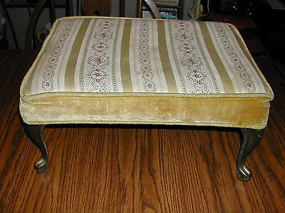 Vintage Crawford Foot Rest Stool Ottoman Cast Metal Legs Tapestry