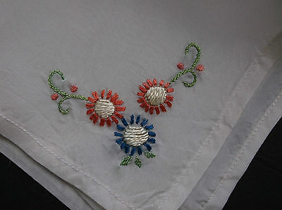 Antique vintage silk hand embroidery Sunflowers handkerchief pocket square