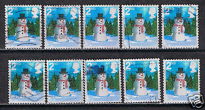 Great Britain #2411a(3) 2006 2nd Christmas Snowman 10 Used SCV$4.50