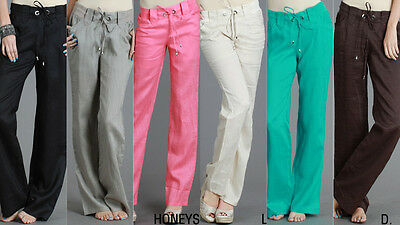 New Women's Misses Solid Casual Drawstring Linen Pants