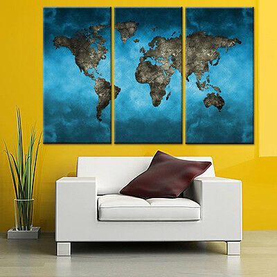 Framed Abstract World Map Blue Canvas Print Modern Still Life HD Wall Art 3 Pcs