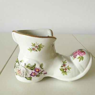 Shabby Chic Country Cottage Old Foley James Kent Porcelain Boot Pink White Roses