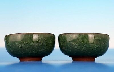 Pair of Fine Rare Chinese Collections Green Glaze Porcelain Tea Cups