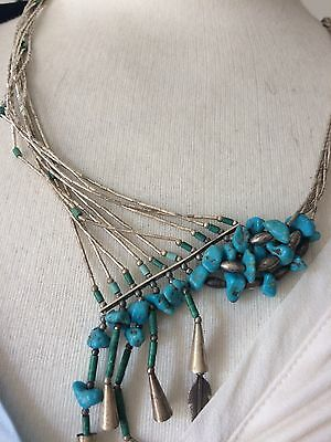 Native American 950 Sterling Silver and Turquoise Necklace