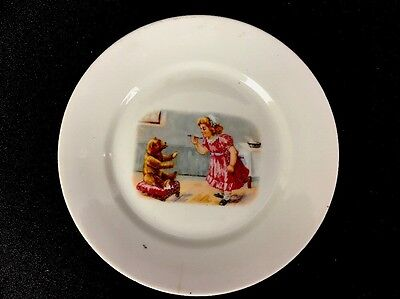 "Antique Porcelain Childrens Baby Plate Girl W/ Teddy Bear 5-3/4"" Unmarked As Is"