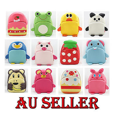 Toddler Kid Cartoon Bag Backpack Travel School Sacks Zip Baby 2-Pockets AU STOCK