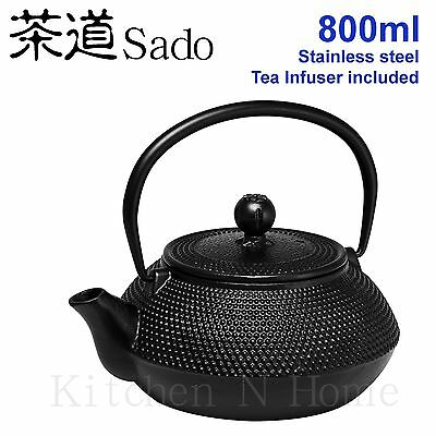Cast Iron Teapot, Japanese style, 800ml -Black, Stainless Tea infuser included